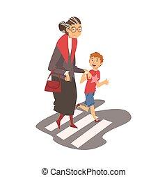 niño, mujer, viejo, camino, cruz, niño, cortés, porción,...