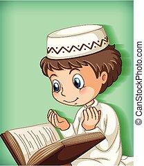 niño, musulmán, lectura, quran