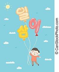 niño, número, ilustración, 123, coreano, niño