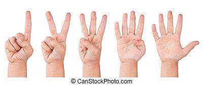 niño, números, dedo