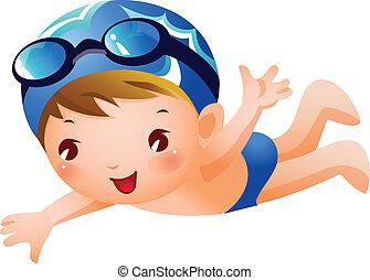 niño, nadador