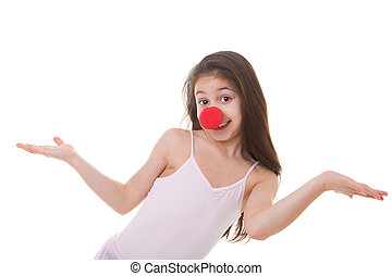 niño, nariz, payaso, rojo