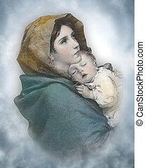 niño, natividad, madonna