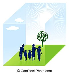 niño, naturaleza, protección
