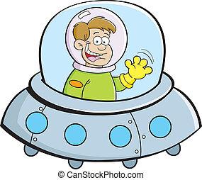 niño, nave espacial, caricatura