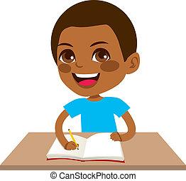 niño, negro, estudiante, escritura