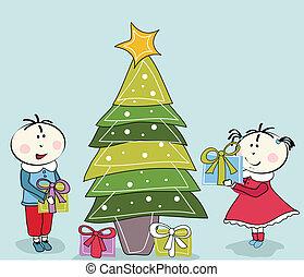 niño, niña, árbol, navidad