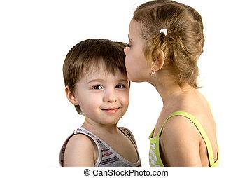 niño, niña, besos