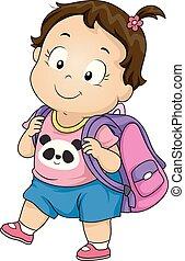 niño, niña, bolsa escuela, ilustración