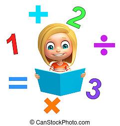 Matemáticas, niño Poco, arte, ella, serie, , matemáticas