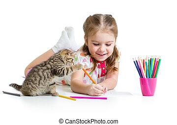 niño, niña, dibujo, con, lápices, y, juego, con, gatito
