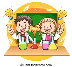 niño, niña, experimento, ciencia
