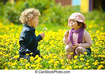 niño, niña, flores