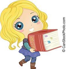 niño, niña, libro, ilustración, historia