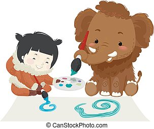 niño, niña, mamut, pintura, ilustración