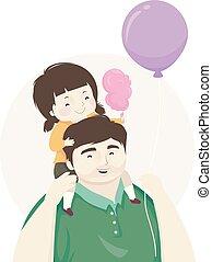 niño, niña, padre, dulces algodón, globo, ilustración