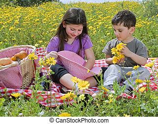 niño, niña, picnic