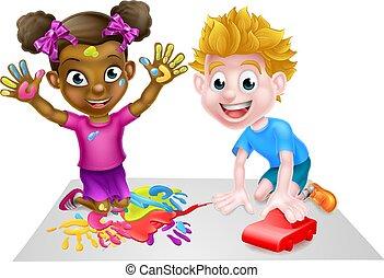 niño, niña, pinturas, juego, coche