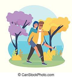 niño, niña, proceso de llevar, espalda, árboles