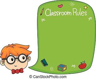 niño, niño, aula, pizarra, reglas