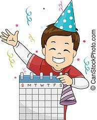 niño, niño, calendario, fiesta de cumpleaños