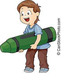 niño, niño, carboncillo, verde, grande