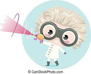 niño, niño, científico loco, arma del rayo, ilustración