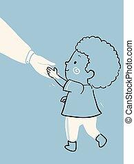 niño niño, cortés, ilustración, niño, levantar