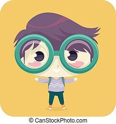 niño, niño, grande, cristales del ojo, ilustración