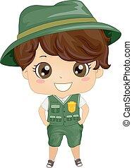 niño, niño, ilustración, parque, uniforme, guardabosques