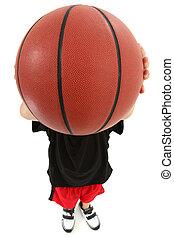 niño niño, jugador de baloncesto, lanzamiento, pelota, en, cámara, cara