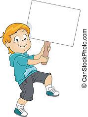 niño, niño, proceso de llevar, un, blanco, signboard
