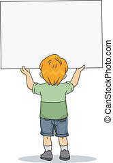 niño, niño, tenencia, un, blanco, tabla, 2