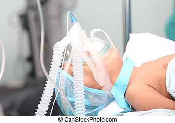 niño, no identificado, máscara de oxígeno, m, foco, surgery.