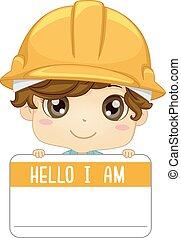 niño, nombre, niño, ilustración, etiqueta, ingeniero