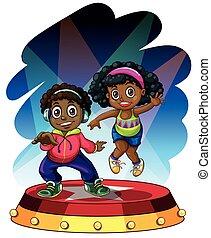 niño, norteamericano, africano, niña, bailando
