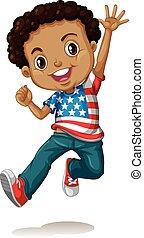 niño, norteamericano, saltar, africano