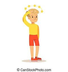 niño, ojos, lesión, ayuda, conmoción cerebral, Necesitar,...