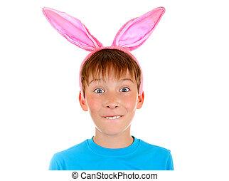 niño, orejas de conejo
