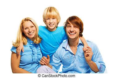 niño, padres, amoroso