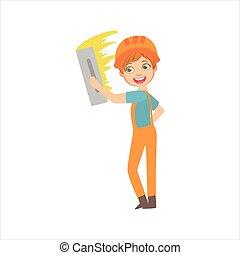 niño, paleta, conjunto, alinear, constructor, profesión, sitio, ilustración, paredes, futuro, vestido, construcción, cuchillo, sueño, niño