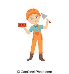 niño, paleta, conjunto, vestido, constructor, profesión, sitio, ilustración, construcción, tenencia, ladrillo, futuro, sueño, cuchillo, niño