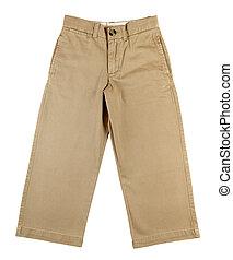 niño, pantalones, aislado, blanco, plano de fondo