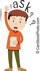 niño, papel, hacer preguntas
