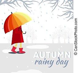 niño, paraguas, llover, concept., ilustración, otoño, vector, diseño, plano de fondo, niña, día