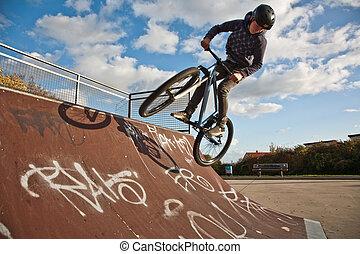 niño, parque, bicicleta, dirtbike, biking, halfpipe