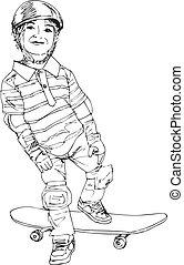 niño, patinador, ilustración