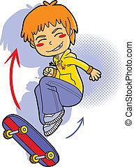 niño, patinador