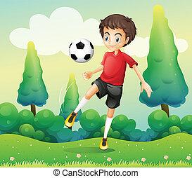 niño, pelota, camisa, patear, futbol, rojo