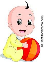 niño, Pelota, colorido, tenencia, bebé, caricatura